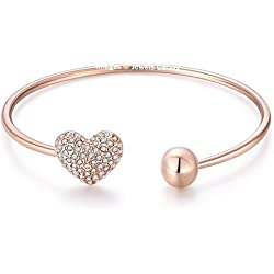 Jewels Galaxy American Diamond Heart Designer 18K Rose Gold Plated Charm Bracelet For Women