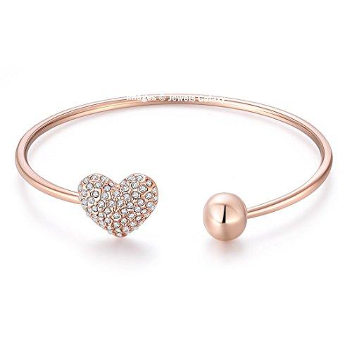 Jewels Galaxy American Diamond Heart Designer 18K Rose Gold Plated Charm Bracelet...
