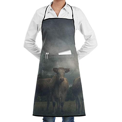 apron Cattle Family Square Aprons Bib for Mens Womens Baking String Adjustable Adult Kitchen Waiter Schürzen mit Taschen