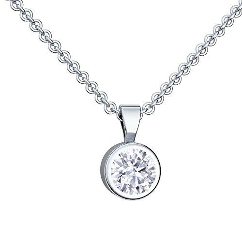 Damen Kette Silber 925 mit Anhänger Halsketten für Frauen mit Stein-Anhänger Zirkonia Damenkette Silberkette schlichte klassische wie brilliant Collier dezent klein Kristallanhänger FF208