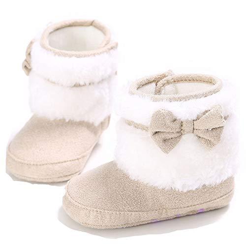 Winter-Baby-Säuglingsjungen-Mädchen Stricken Woolen warme Schnee-Stiefel-Schuhe (12-18 Months, Beige B) -