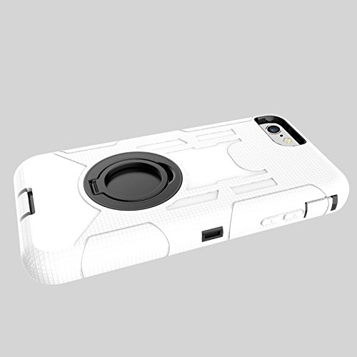 iPhone 7 Hülle, Heavy Duty Harte Rüstung Anti-Kratzer PU Silikon Handyhülle mit Ring Ständer / Kickstand Stoßfest Etui Shockproof Case Cover Kompletter Schutz Tasche Schutzhülle für Apple iPhone 7 (Ti Weiß