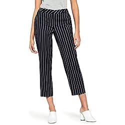 FIND Pantalones Rayas Mujer, Azul (Navy), 42 (Talla del fabricante: Large)