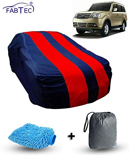Fabtec Car Body Cover for Tata Sumo Grande Red & Blue Colour with Storage Bag + Microfiber Glove Combo!