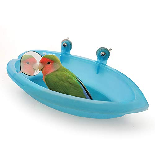 HIGHORD Vogel Dusche Spiegel Spielzeug Haustier Papagei Essen Box Kleine Mittlere Papagei Langen Schwanz Papagei Papagei Kanarienvogel Afrikanischen Grau Papagei Käfig Bad Liefert Fütterung Schüssel -
