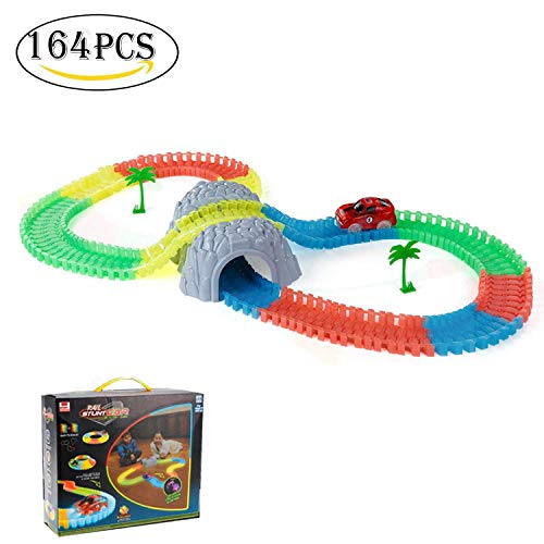 SZSMART Racing Speedway Piste Magique Mini Voiture Circuit Flexible Pistes de Course de Coiture de DIY Jouets éducatifs Construction Piste Magique Lueur dans Le Foncé Cadeau pour Les Enfants