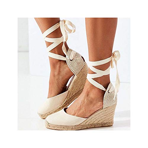 2019 Hot Wedges Sandals Bohemia Woman Sandals Summer Shoes Women Platform Sandals Lace Up Chunky High Heels Sandalias Mujer 43 Beige 5 -
