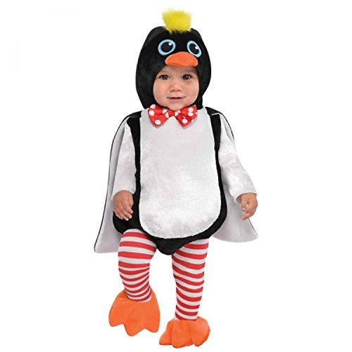 amscan 9902072 Kostüm, weiß/schwarz, 6-12 - Pinguin Baby Kostüm
