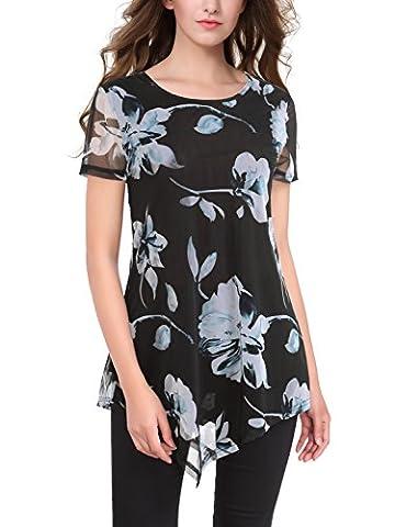 BAISHENGGT Women's Mesh Floral Print Hanky Hem Round Neck Short Sleeve Top Black-2 Medium