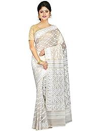 PinkLoom Women's Cotton Silk Saree With Blouse Piece(PLMUSJ63_White_Free Size)