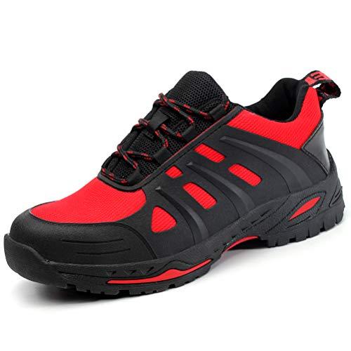 AIXSHOE Scarpe da Lavoro con Punta in Acciaio Estive Scarpe Antinfortunistica Comode Sneaker Traspiranti Unisex - Adulto,Red,45EU