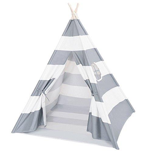 Decestar Kinder Tipi Play Tent Graue Indianerzelt Spielzelt Tipi Zelt für Kinder, Natürliches Segeltuch Teepee Play Zelt