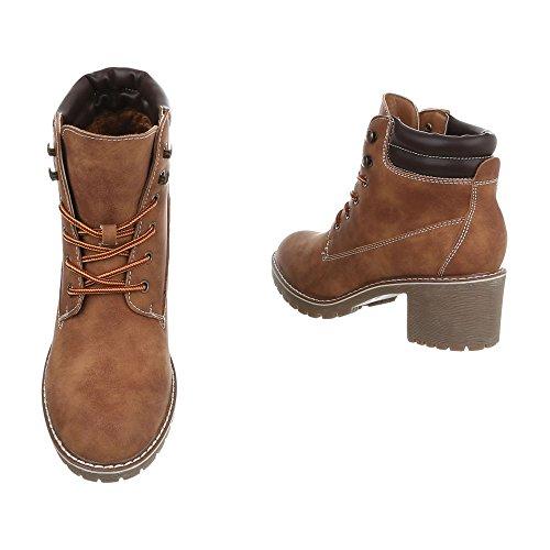 Scarpe da donna Stivali tacco a blocco Stivaletti con Laccio Ital-Design Braun 268-GA