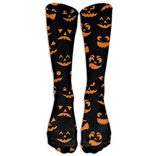 Men's Women's Novelty Orange Halloween Pumpkins Carved Faces Long Sock Athletic Calf High Crew Soccer Socks Sports