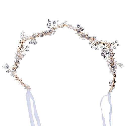 Luckycs Braut Tiara Frischwasserperlen handgemachte Hochzeitskleid Zubehör Haarband Brautjungfer Haarschmuck Geburtstagsfeier