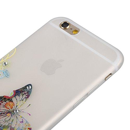 Coque Housse Etui pour iPhone 6 Plus/6S Plus, iPhone 6S Plus Coque en Silcone avec Bling Diamant, iPhone 6 Plus Coque Noctilucent Souple Slim Etui Housse, iPhone 6 Plus/6S Plus Silicone Case Soft Gel  Un papillon coloré