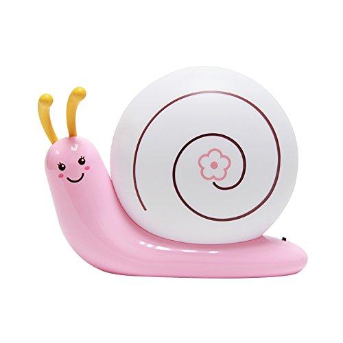 Signstek Schlafzimmer Nachttischlampe Niedlich Schnecke Nachtlicht USB aufladbar LED-Lampe mit USB-Ladekabel für Baby Kinder (Rosa)