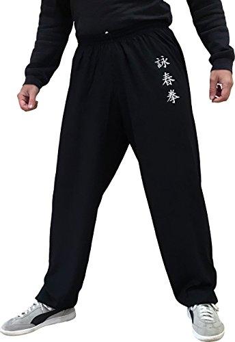 TAO Sportswear Wing Chun Kung Fu Hose für Damen und Herren Kampfsporthose leicht und geschmeidig (Größe XXL, Schwarz)