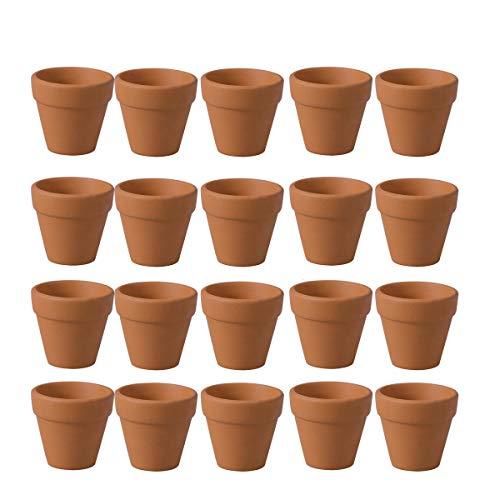 BESTONZON Mini-Tontöpfe, aus Terrakotta 20 Stück Kleine Terrakotta Mini Terrakotta Topf Ton Keramik-Pflanzgefäß, Kaktus, Sukkulentententöpfe, für Weihnachten drinnen und draußen Hochzeiten(3cm)
