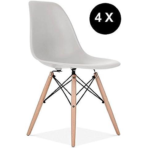 Promo–Set di 4x Sedia design ispirazione DSW piedi legno chiaro seduta PP–MOBISTYL® MOBI-DSWL4 4 x Gris