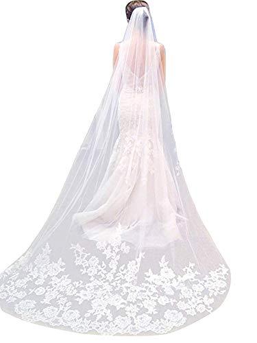 e0c21ca0536d Velo da sposa monostrato Lianshi Velo da sposa in pizzo Ricamo Sposa  Forniture 3m (Avorio