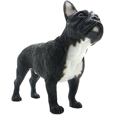 Statuina decorativa, a forma di cane French Bulldog, colore: bianco & nero