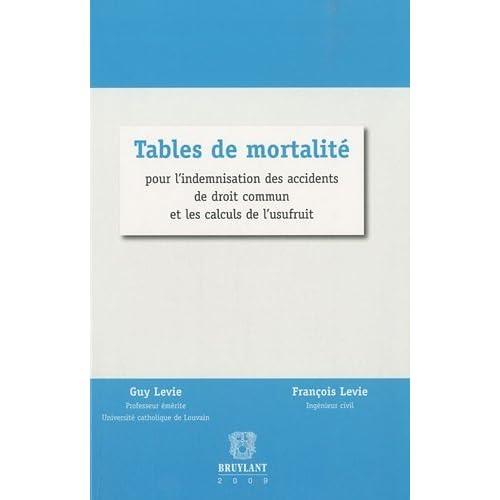 Tables de mortalité : Pour l'indemnisation des accidents de droit commun et les calculs de l'usufruit de Guy Levie (31 août 2010) Broché