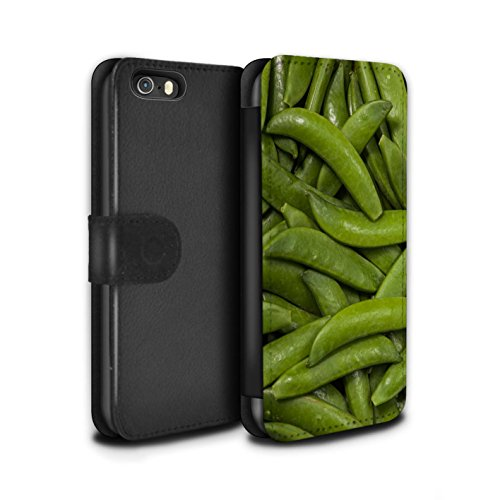 Stuff4 Coque/Etui/Housse Cuir PU Case/Cover pour Apple iPhone SE / Haricots Cuits au Four Design / Nourriture Collection Haricots Verts
