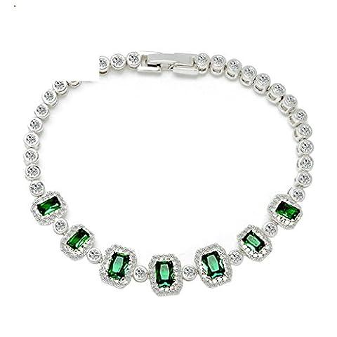 Daesar Vergoldet Armband Damen Bettelarmband für Damen Grün Weiß Armband mit Stein Rectangle Länge:17CM