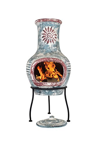 La Hacienda Swirl Clay Chimenea, Small, Sea Blue & Red