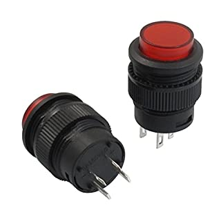 TOOGOO(R) 2 Pcs 4 Terminals Red LED Lamp Momentary Push Button Switch DC 3V