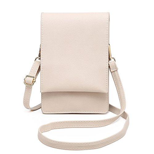 SHOMICO Handy Schultertasche,Handytasche, Kleine Umhängetasche für Damen Kopfhörer Mini Sack Mädchen Frauen (Beige) Iphone Tasche