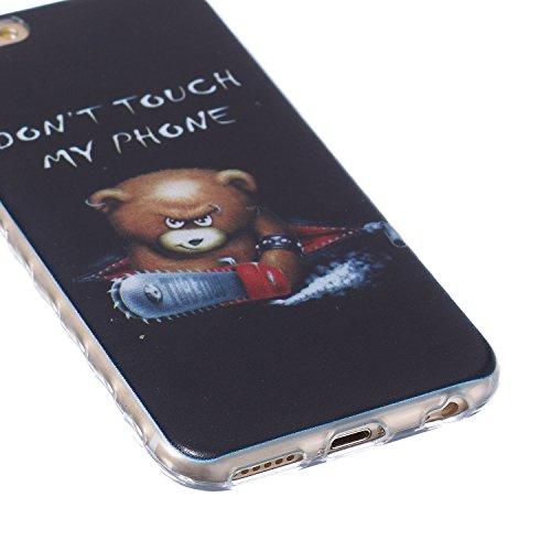 Custodia iPhone 6 Plus, iPhone 6S Plus Cover Glitter, SainCat Cover per iPhone 6/6S Plus Custodia Silicone Morbido, Custodia Bling Glitter 3D Design Transparent Silicone Case Ultra Slim Sottile Morbid Chainsaw Orso