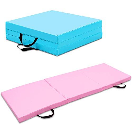 COSTWAY Weichbodenmatte Gymnastikmatte Yogamatte Turnmatte Klappmatte Fitnessmatte 180x60x6cm klappbar tragbar (rosa)