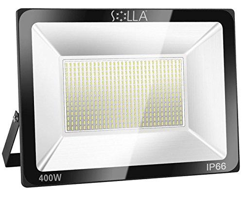 SOLLA 400W LED Flutlicht Outdoor-Sicherheitsleuchte, 2140W Äquiv, 6000K Tageslichtweiß, 32000LM, Wasserdicht IP66, Außenwandleuchte, 24 Monate Garanwandleuchte