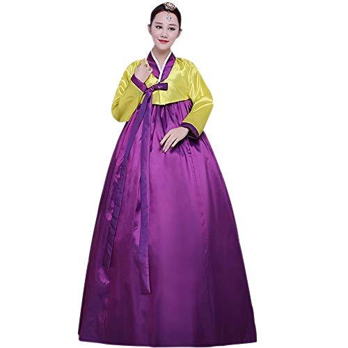 BOZEVON Damen Traditionelle Hanbok - Langarm Klassische Fotografie Kleider Cosplay Kostüm, Gelb-Violett, EU L=Tag - Koreanisches Kostüm Frauen