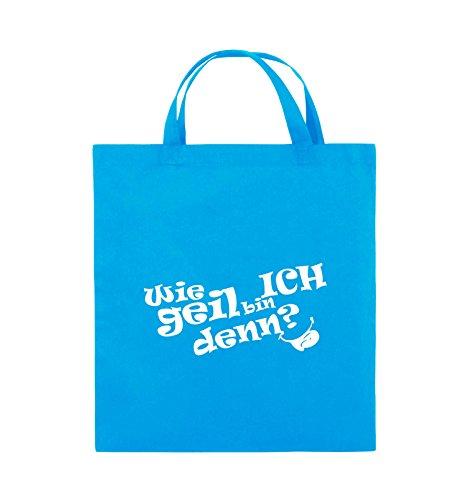 Comedy Bags - Wie geil bin ICH denn? - ZUNGE - Jutebeutel - kurze Henkel - 38x42cm - Farbe: Schwarz / Silber Hellblau / Weiss