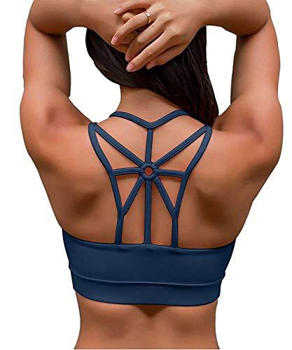 YIANNA Damen Abnehmbare Gepolsterte Sport BH Mittlerer Halt Ohne Bügel Atmungsaktiv Bustier Fitness BH,UK-YA-BRA139-Teal-M