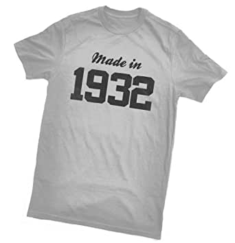 Made in 1932 T-Shirt - fun birthday gift - wrapping and gift message service available - grey - all sizes (ladies size 8)