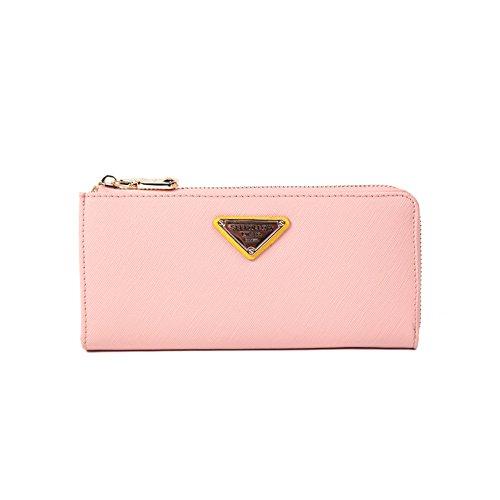 Grande capacità lusso Portafoglio da donna in pelle, borse-Portafogli con portamonete e porta carte di credito e tasca con Pocket Rosa