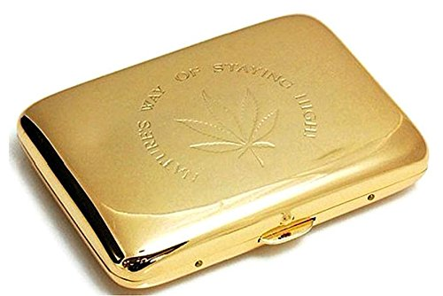 Marihuana, Hanfblatt, hochwertiger Edelstahl mit Gravur, goldenes Zigarettenetui