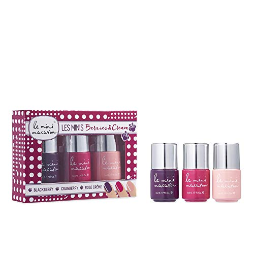 Le Mini Macaron ♥ Coffret Kit de Vernis • Les Minis Berries and Cream • 3 Nail Gels Semi-Permanents Séchage LED •Vernis à Ongles UV 3 en 1 • Couleurs Rose Crème Blackberry et Cranberry • 10ml Chacun