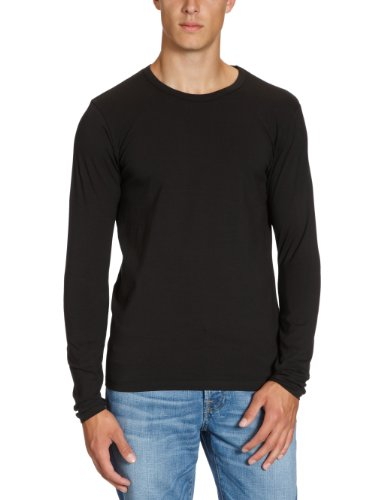 JACK & JONES Herren Langarmshirt 12059220 Basic O-Neck Tee Schwarz (Black)