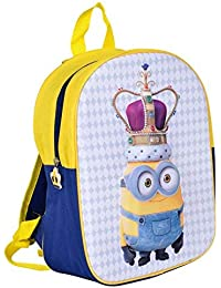 f342b36a0490 MINIONS Kids Backpack With 3D Image Of King Bob On Front Panel Despicable Me  Yellow Blue