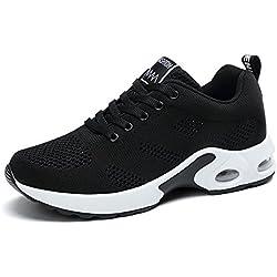 Zapatillas Deportivas de Mujer Air Cordones Zapatillas de Running Fitness Sneakers 4cm Negro Rojo Rosado Purpura Negro 38