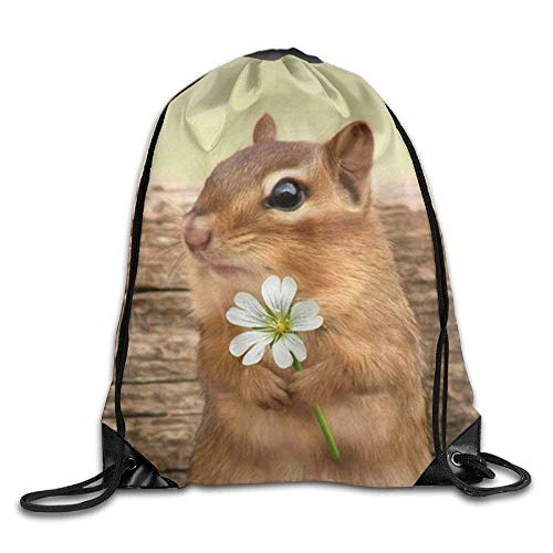 WYICPLO Funny Squirrel with Flower Outdoor Drawstring Backpack Bags Pack Cinch Tote Sport Gym Sack Polyester Traveling Bag for Men/Women and Kids (Western Pack Tote)