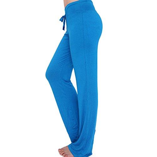 Pantaloni sportivi donna Pantaloni casual vita alta morbidi Pantaloni fitness elasticizzati con coulisse Lungo Moderno Juleya cielo blu