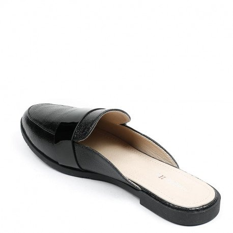 Ideal Shoes - Mules nacrées style babouche Gemma Noir