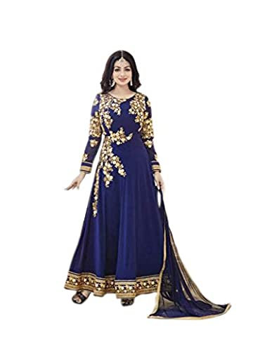 Shoppingover Indian Bollywood Women's Party wear Blue Anarkali Suit in