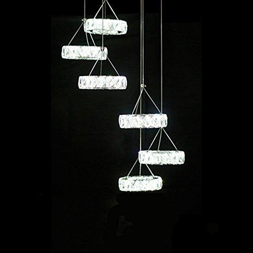 Moderne LED Kristall Kronleuchter Licht Lampe für Zuhause Dekorative Cristal Lustre Kronleuchter Beleuchtung Anhänger Hängende Deckenleuchte, Blau, kühles Weiß -